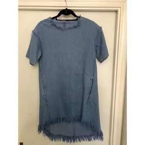 Dresses & Skirts - High Low Denim Dress with distressed detailing